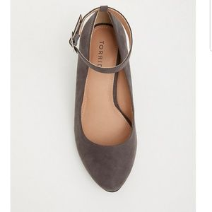Torrid grey faux suede ankle strap wedge 10.5